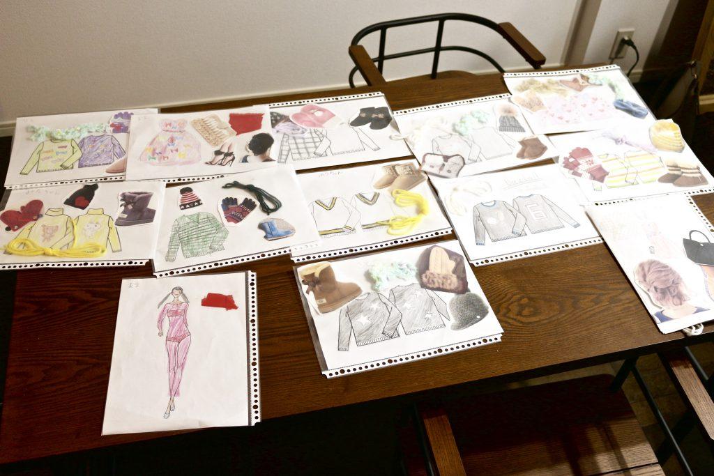 デザイン教室の様子 子どもの描いたファッションデザイン画一覧